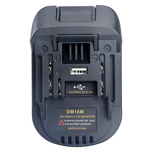 Reputedc Gereton Neuer 18V Batterie-Adapter DM18M umgewandelt in Li-Ion Ladegerät Werkzeug Konverter für MAKITA Batterien DM18M Batterie-Adapter mit USB-Ladeanschluss