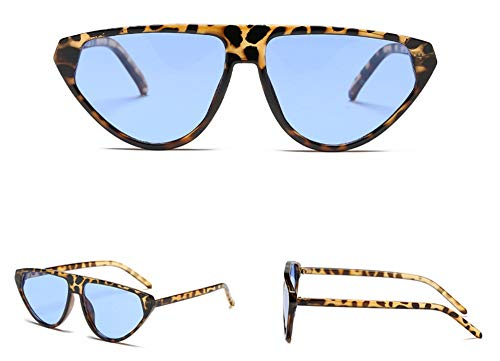 WSKPE Sonnenbrille Piloten Sonnenbrille Flache Steigung Streulichtblenden Brillen Unisex Gläser Uv 400 Leopard Frame Blaue Linse