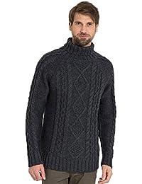 WoolOvers Pull irlandais à col roulé - Homme - Pure Laine
