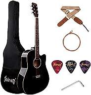 JUAREZ Arpéggio 41 Inch Acoustic Guitar Kit, Spruce Top, Black