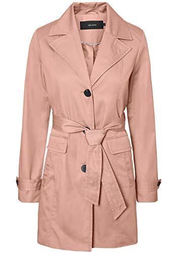 VERO MODA Tracey Damen Trenchcoat Mantel Übergangsjacke mit Reverskragen und Gürtel, Größe:M, Farbe:Misty Rose
