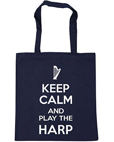 hippowarehouse-keep-calm-and-play-the-harp-tote-shopping-gym-beach-bag-42cm-x38cm-10-litres