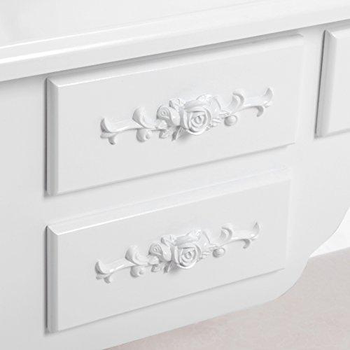 Songmics weiß luxuriös Kippsicherung Schminktisch mit 3 spiegel und hocker, 7 schubladen inkl. 2 Stück Unterteiler, Kippsicherung, 145 x 90 x 40 cm RDT91W - 3