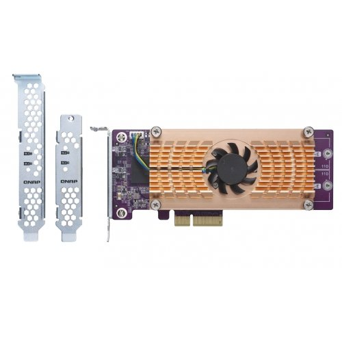 Qnap TS-Dual nvme m.222110/2280PCIe SSD Erweiterungskarte (PCIe Gen2X 4) (QM2–2P) (Edelstahl-low-anschluss)
