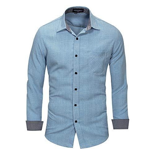 All--In-in Herren Hemd Slim Fit für Freizeit Business Hochzeit Reine Farbe Hemd Langarm Herren-Hemd blau L