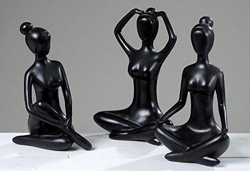 """""""Yoga Figur"""" 3-er Set Statue Skulptur Deko Dekofigur schwarz"""
