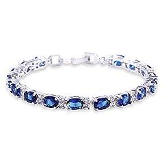 Idea Regalo - GULICX oro bianco sfumato con zirconia cubica colore zaffiro blu cristallo braccialetto romano bracciale tennis catena a maglia
