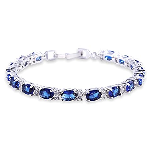 GULICX White Gold Electroplated Cubic Zirconia Blue Crystal Bangle Roman Tennis Bracelet Sapphire Color Link Chain