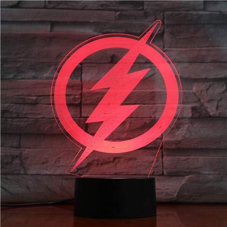 Das Blitzlogo Usb 3d führte Nachtlicht-Karikatur-Superheld-Jungen-Kind-Kindergeburtstags-Geschenk-Tischlampe-Nachttischlampe-Gerechtigkeits-Liga A-1804