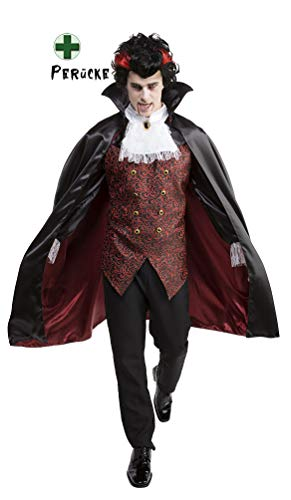 Karneval-Klamotten Vampir-Kostüm Herren-Kostüm Dracula-Kostüm Herren Vampir-Umhang Vampir-Cape Dracula-Umhang Dracula-Cape mit Vampir Perücke Komplett-Kostüm Halloween Größe 56/58
