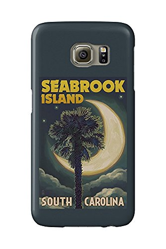 Seabrook Island, South Carolina - Palmetto Moon and Palm (Galaxy S6 Cell Phone Case, Slim Barely There) -