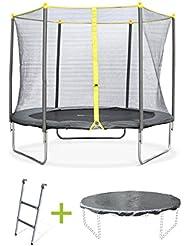 Alice's Garden - Trampoline rond de 250 cm de diamètre avec son filet de sécurité, son échelle et sa bâche de protection- Springbok Ø250cm - Normes : trampoline certifié par Intertek