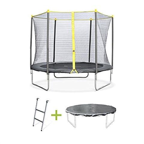 Alice's Garden - Trampoline rond de 250 cm de diamètre avec son filet de sécurité, son échelle et sa bâche de protection- Springbok Ø250cm - Normes : trampoline certifié par