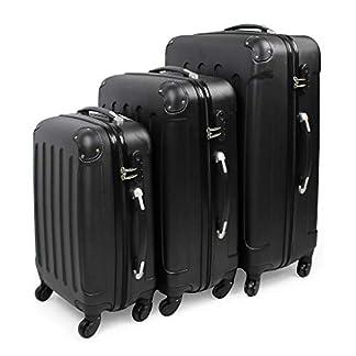 Todeco – Juego de Maletas, Equipajes de Viaje – Material: Plástico ABS – Tipo de ruedas: 4 ruedas de rotación de 360 ° – Esquinas protegidas, 51 61 71 cm, Negro, ABS