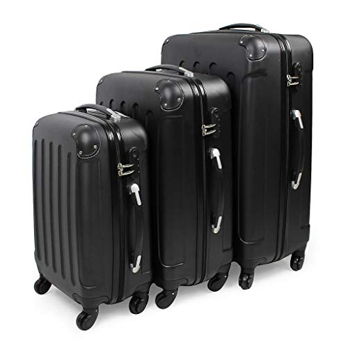 Todeco - Set di valigie da viaggio - Materiale: plastica ABS - Ruote: 4 ruote a rotazione 360° - 51 61 cm 71 cm, nero, angoli protetti, ABS