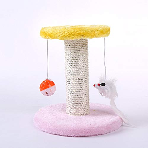 Cat's Tree Climbing Frame Cat's Scrape Board Rolling Sisal Scraping Post Yellow&Pink