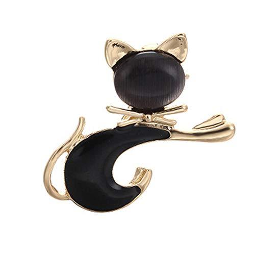 Toporchid Reizende Tier-Broschen Nette Katze Corsage Kragen Pins Geschenk (Schwarz)