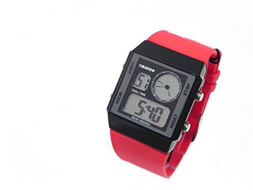 el charro dual time reloj digital unisex hombre mujer allarm data goma roja black dial ch10921br