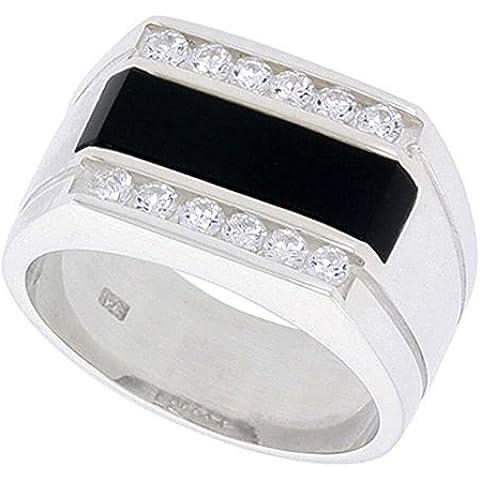 """Revoni-Collana in argento Sterling, forma rettangolare, colore: nero Onyx-Anello da uomo, con 2 scanalature, su ciascun lato & 12 pietre di zirconia cubica, 1/(2 5,08 cm (13"""") mm)"""