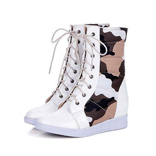 VogueZone009 Damen Niedrig-Spitze Gemischte Farbe Schnüren Mittler Absatz Stiefel mit Knoten Weiß