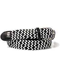 Accessoryo - ceinture tissé garni de cuir noir et blanc