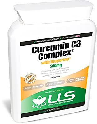 LLS Pure Curcumin C3 Complex® with Bioperine® for Greatly Increased Bioavailability | 500mg x 60 Veg Capsules | Highest Quality Turmeric Curcumin with 95% Curcuminoids | May Reduce the Pain and Inflammation of Arthritis | Produced in the UK under GMP Cert