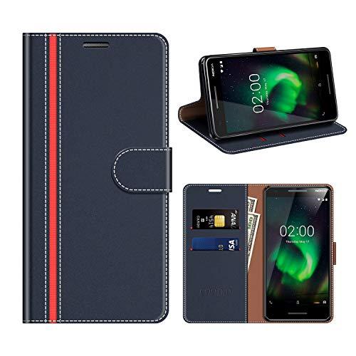 coodio Nokia 2 2018 Hülle Leder, Nokia 2.1 Kapphülle Tasche Leder Flip Cover Schutzhülle Rugged für Nokia 2.1 / Nokia 2 2018 Handyhülle, Dunkel Blau/Rot