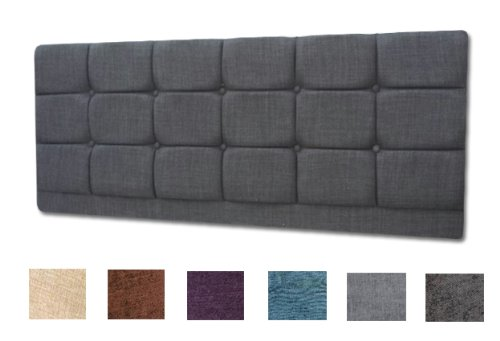 Turin Fabric Vancouver Headboard 6Ft Super King Size With Matching Buttons - Choice of 6 Colours (GREY)