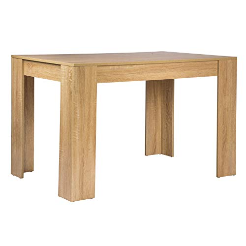 WOLTU TSG18hei Table à manger en bois Table de cuisine Table Bureau Table de travail 120x80x75,5cm (LxPxH),Chê