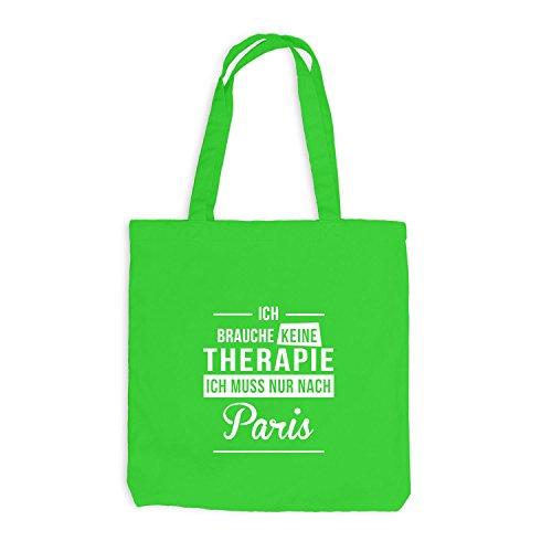 Borsa Di Juta - Non Ho Bisogno Di Terapia Paris - Terapia Vacanza Francia Verde Chiaro