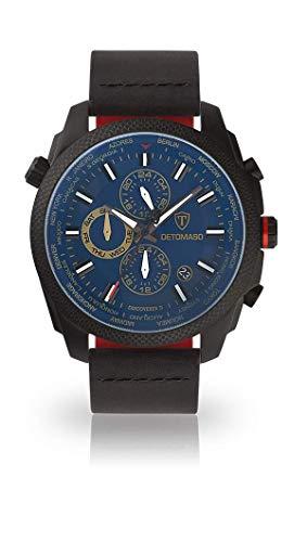 DETOMASO Discoverer II Herren-Armbanduhr Chronograph Analog Quarz schwarzes Edelstahlgehäuse blaues Zifferblatt - Jetzt mit 5 Jahren Herstellergarantie (Leder - Schwarz)
