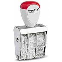 Wedo 51101001 Trodat 1010 Classic Datumstempel, Abdruckgröße 4 x 26 mm, vernickeltes Metallgehäuse, Kunststoffräder, Kunststoffgriff