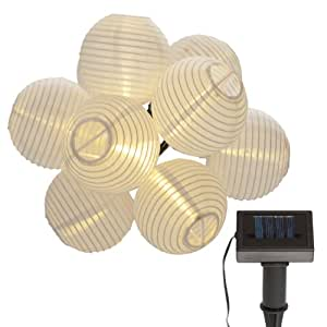 Led solar lampionkette 10 er lampion wei party - Qs gartendeko ...