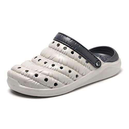 Zuecos Goma Unisex Adulto,Zapato de jardín,Chanclas de Piscina Playa Verano Zapatillas,Gris,EU38=CN40