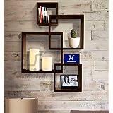 Amaze Shoppee Wooden Wall Mounted Shelf Rack for Living Room Decor (Brown) - Set of 4 (Design1C)