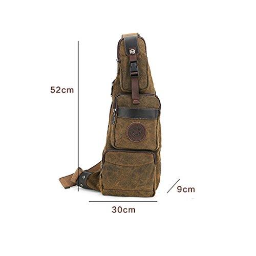 Wewod Herren Outdoor Leinwand Brusttasche Sling Bag Crossbody mit Multi-Tasche (Braun) Braun