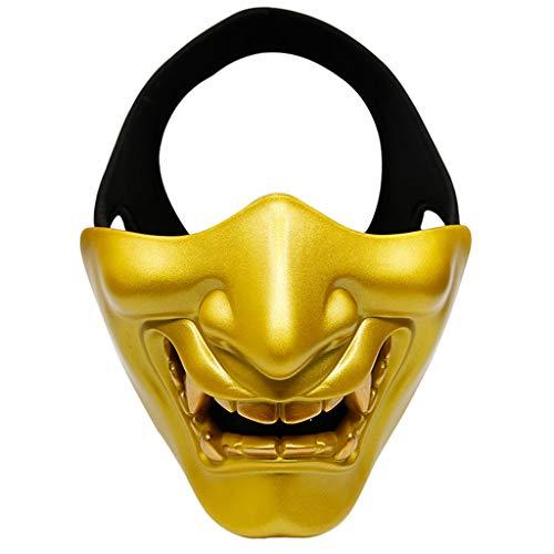 Keshida Halbmaske für Cosplay Kabuki Samurai Teufel Halloween Party Festival Ball COS Teufel Horror Gesicht gold