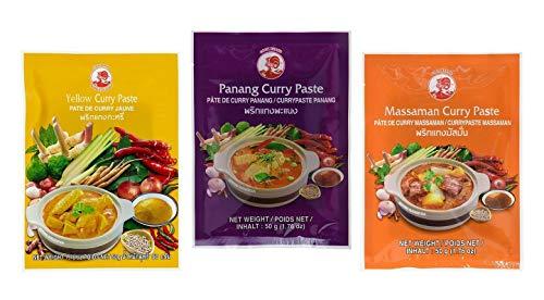 CockBrand 3 verschiedene Curry Pasten je g (Panang, Matsaman, Gelb)