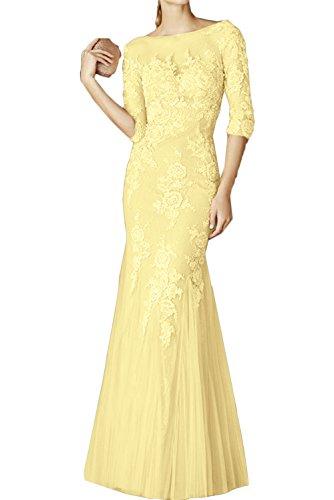 Sunvary elegante Ein-Schulter Abendkleider Lang Chiffon Ballkleider/Promkleider AEL2557 feste Giallo