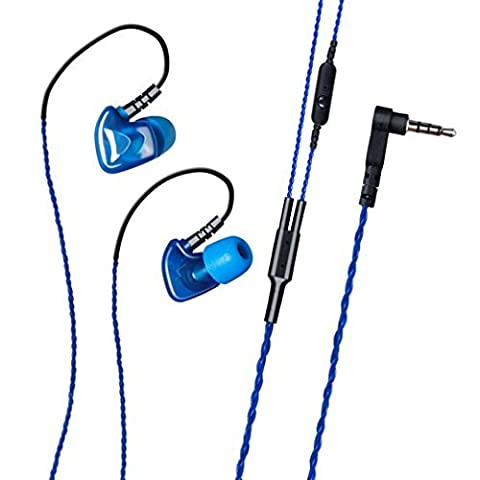 GranVela® S50 Sport In-Ear Headphones with Noise Isolating, Memory Wire, Memory Foam and Microphone - Blue
