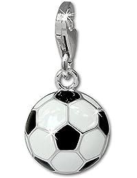 SilberDream exclusive Charms - Charm football noir/blanc en argent pour charms colliers et bracelets - Argent 925 Sterling - FC880