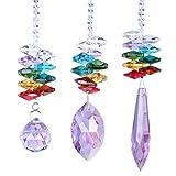 H&D Lila Kronleuchter-Ornamente zum Aufhängen, Kristallsteine, Prismenform, Regenbogen-Effekt,Sonnenfänger mit Perlen zur Dekoration, 3 Arten von Anhänger jeder Stück