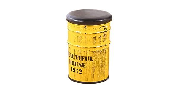 Couleur : #1 Tabouret de bar r/étro stockage tambour en fer forg/é baril de peinture rembourr/é banc en fer forg/é vieux fauteuil de style r/étro style industriel ronde