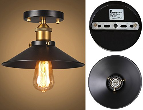 Plafoniere Soffitto Industrial : Lampada da soffitto vintage nero e industrial metal light shade
