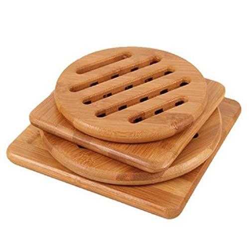 4 salvamanteles para platos calientes, almohadillas calientes, salvamanteles de madera de bambú sólido, antideslizante, resistente al calor, para tetera (multitamaño, 2 cuadrados, 2 redondos)