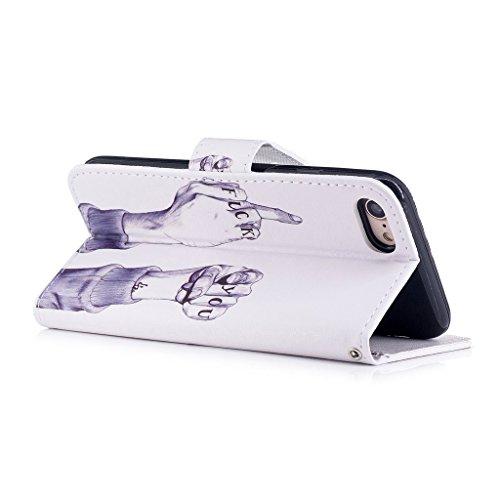 iPhone 7 Hülle,Fodlon® Mode Gemalt Karte Schlitze mit Schlüsselband Telefon Schutzhülle -Einhorn Scheiße