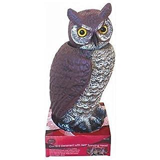 Absab Ltd OWL DECOY BIRD SCARER DETERRENT 360° SPINNING HEAD WIND ACTIVATED OUTDOOR G