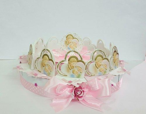Torta bomboniere icone sacra famiglia cuore cm 6 su torta da 12 fette +centrale battesimo prima comunione cresima
