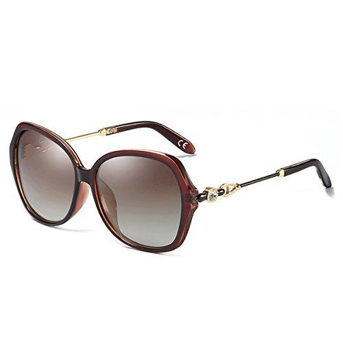BLEVET Mode Groß Damen Sonnenbrille Polarisiert 100% UV-Schutz Brille [Diamant-Dekoration] BE005 (Brown Frame Brown Lens)