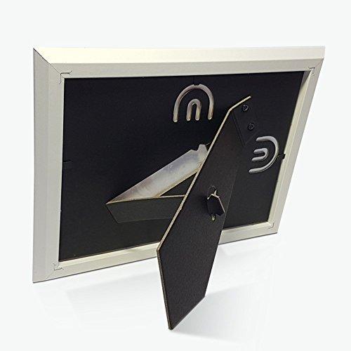 Cornici per foto in legno con la scritta Papà TVB e decorata con cuoricini, da appoggiare o appendere, misura 13×18 cm Bianca. Ideale per regalo e ricordo. - 6